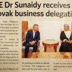H E Dr Sunaidy receives Slovak business delegation