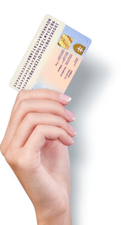 ilustračný obrázok ruky, ktorá drží občiansky preukaz