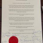 fotka dokumentu mierového vyhlásenia