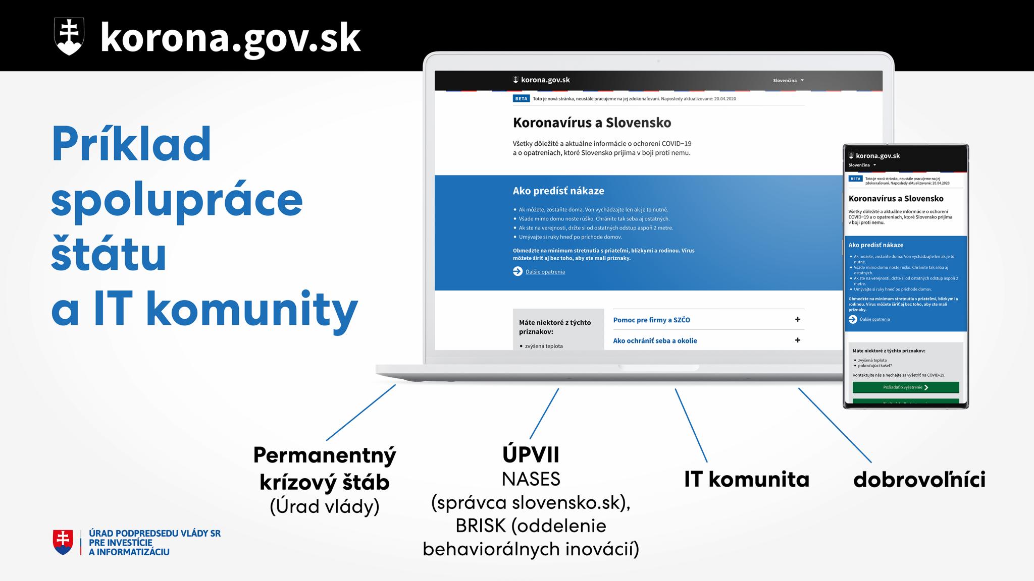 Nový web korona.gov.sk je ukážkovým príkladom spolupráce štátu a IT komunity