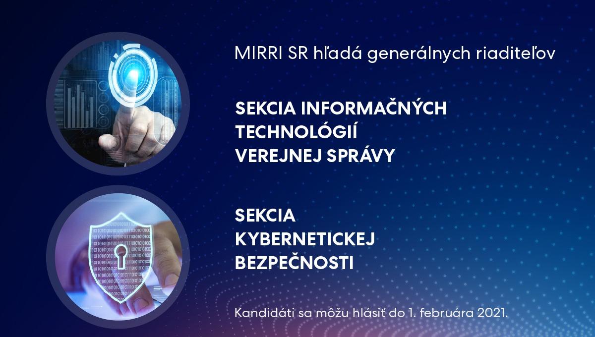 Hľadáme šéfov sekcií informatizácie a kybernetickej bezpečnosti