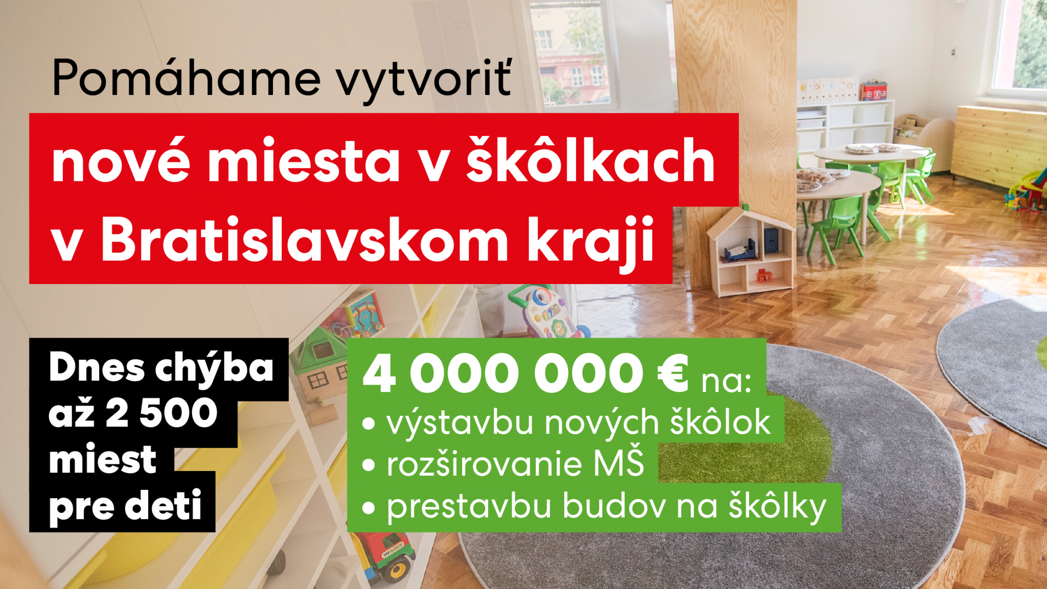 Vicepremiérka Remišová: Pomáhame škôlkam  v Bratislavskom kraji, na nové miesta pre deti idú 4 milióny eur